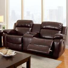 Brown Recliner Loveseat Faux Leather Espresso Sofa Theater Seating Cup Holders