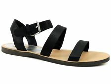 Dolce Vita Women's Veya Sandals Black Leather Three Strap Flat Size Shoes 7 M
