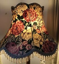 VINTAGE MID CENTURY LARGE PINK GREEN CHINTZ FLORAL FRINGED FLOOR LAMP LAMP SHADE