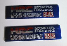2x HRC Yoshimura Aluminum Plate Decal Exhaust System Sticker Blue
