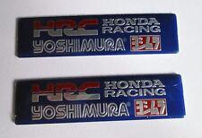 2x HRC Yoshimura Aluminum Plate Decal Exhaust System Sticker Blue