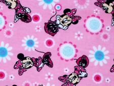 FLANNEL FABRIC  MINNIE MOUSE POSES FLOWERS GREAT FOR BLANKET or PJ'S BY THE YARD