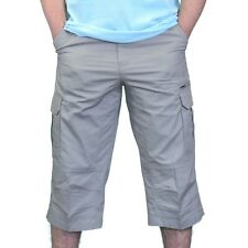 Mens long cargo shorts gray