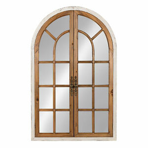Boldmere 28x44 Wood Windowpane Arch Mirror, Brown and White by Kate and Laurel
