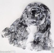 Women's Fashion Black White Peony Flower Chiffon Soft Stole Scarf Shawl