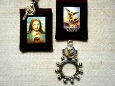 St Michael Sacred Heart Brown Scapular and St Michael Finger Rosary