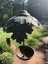 New listing Vintage Metal Bowl Style Oak Leaf Bird Feeder Original Green Color