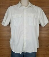 Banana Republic Mens Soft Wash Shirt sz M Short Sleeve Button Front Jacquard