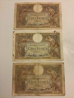 Lot Of 3 X France Banknotes. 100 Francs. Dated 1936. French Vintage Notes.