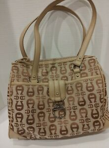 Etienne Aigner Logo Small Brown Handbag Purse Tote With Faux Leather Trim EUC