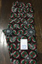 LuLaRoe Holiday Christmas, NEW; Leggings TC2; Red Green Circles Snowflakes Black