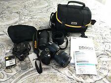 Nikon D 5000 35 MM Camera, Two Lenses, Two Batteries, charger, Nikon Case + more