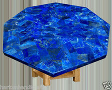 "22"" Marble Coffee Side Table Top Lapis Lazuli Inlay Mosaic Marquetry Work H2029A"