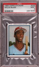 1983 TOPPS STICKERS # 326 WILLIE McGEE ☆ROOKIE☆ ST. LOUIS CARDINALS PSA 9 MINT