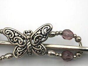 Lilla Rose Flexi8 Hair Clip -Silver + Purple -Butterfly Filigree - XSMALL (#857)