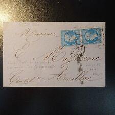 FRANCE NAPOLÉON PAIRE DE N°22 ROULETTE D'ÉTOILE (RARE) SUR LETTRE POUR AURILLAC