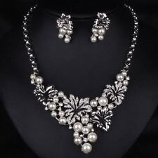 CRYSTAL FAUX PEARL STATEMENT BIB COLLAR WEDDING NECKLACE CHAIN EARRING SET