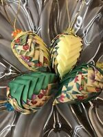 4 Egg Decor Ornament Pinecone Ladybug Green Yellow Handmade Fabric Folded Unique