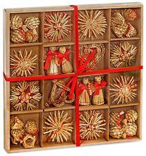 Set of 48  Golden Straw Stars Christmas Ornaments Tree Hanging X-Mas Decoration