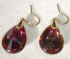 Baccarat Psydelic Teardrop Earrings Purple Crystal 18K Gold Was $775 New 2810421