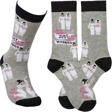 Two Brides JUST MARRIED LGBT Gay Wedding Novelty Socks, by Primitives by Kathy