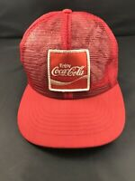 VTG Enjoy Coca Cola Coke Patch Red Mesh Made USA Swingster Snapback Trucker Hat