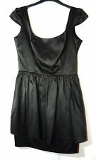 BLACK LADIES PARTY FORMAL COCKTAIL SIZE 8 TOPSHOP SHORT SATIN BUST 88CM