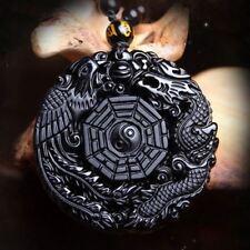 Volcanic Obsidian Phoenix & Dragon Yin Yang Pendant Necklace-FREE P&P/UK Stock