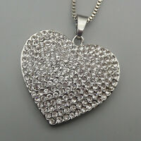 Clear Crystal Rhinestone Heart Pendant Betsey Johnson Sweater Necklace
