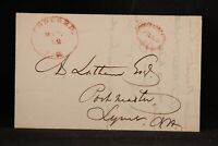 New Hampshire: Concord 1832 Stampless Cover, Sawtooth Red Oval FREE to Lyme