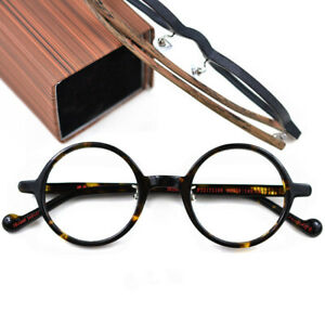 Japanese Hand made Retro Round Glasses Acetate Wood Eyeglass frames Spectacles