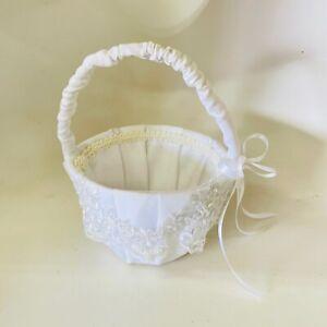 White Flower Girl Basket Satin Covered Lace Ribbons Beads Embellished Wedding