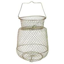 Collapsible Steel Wire Fish Basket Shrimp Crab Cage 25cm - Gold