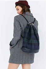 Anthropologie Tartan Duffle Bag Backpack Green Navy Blue Kate Sheridan $268.00