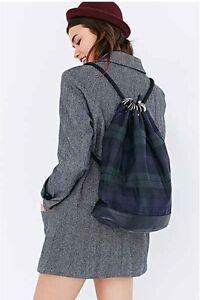 Kate Sheridan Tartan Duffle Bag Backpack Green Navy Blue $268.00 X Anthropologie