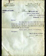 """PARIS (XV°) USINE AUTOMOBILE """"ANDRE CITROEN"""" Service ACCIDENTS Lettre en 1926"""