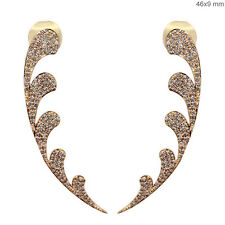 Pave Natural 1.12 Ct Diamond Pave Stud Stick Earrings Fine 18k Rose Solid Gold