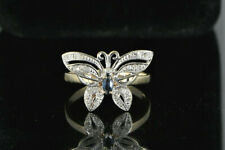 10K Yellow White Gold Marquise Blue Sapphire Round Diamond Butterfly Ring Band