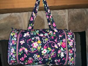 Vera Bradley Ribbons Breast Cancer Large Duffel Bag Overnight Navy Pink Floral