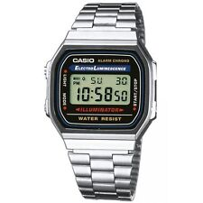 Casio 7 Year Battery Chronograph Silvertone Watch, Alarm, Day/Date, A168W-1