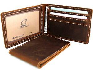 Men's Genuine Leather wallet Bill credit card slots slim Id retro full grain oil