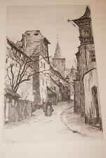 RENE JANSSENS VUE DE VIEILLE VILLE RONTHENBOURG 1940 GRAVURE BELGIQUE