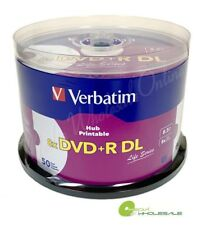 100 VERBATIM 8X DVD+R DL Dual Double Layer 8.5GB White Inkjet Printable 2x50pk