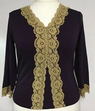 CC Size Large Top - New With Tags - Mulberry - Gold Lace Trim