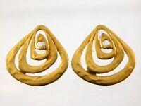 Vintage Tat Matte Goldtone Pierced Stud Earrings Geometric Metal Designer