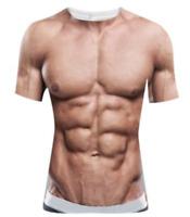 Funny Cool T-Shirt Men Women 3D Fake Abs & Muscle Man Full Print Size S - 7XL