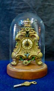 Antique Miniature Austrian Clock within a Glass Dome