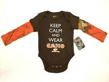 "Mossy Oak Newborn  Brown/Orange ""Keep Calm Wear Camo"" Long Sleeve Outfit NWT"