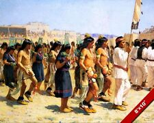 NATIVE AMERICAN INDIAN HARVEST DANCE OIL PAINTING ART REAL CANVAS GICLEEPRINT