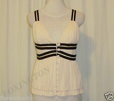 BEAUTIFUL SASS&BIDE CREAM WITH BLACK TRIM SLINKY CAMI TOP 42/6 (AUS 12)